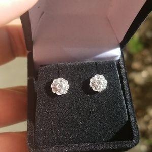 Sterling Silver 925 Rhodium Clear sun earrings